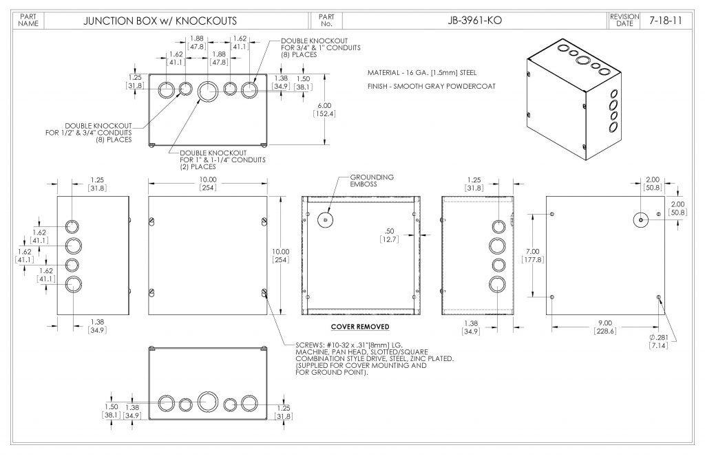 JB-3961-KO Dimensions