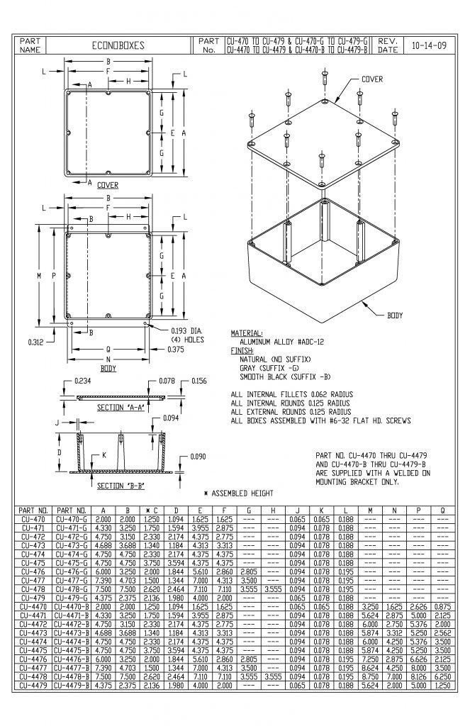 CU-473-G Dimensions
