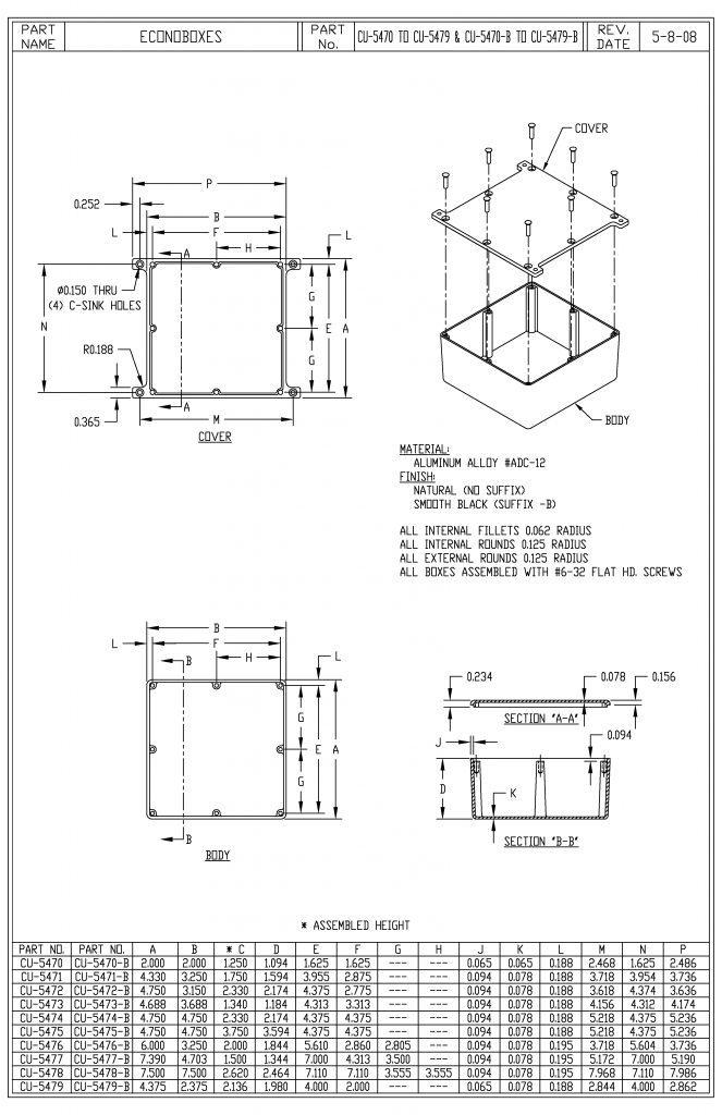 CU-5476-B Dimensions