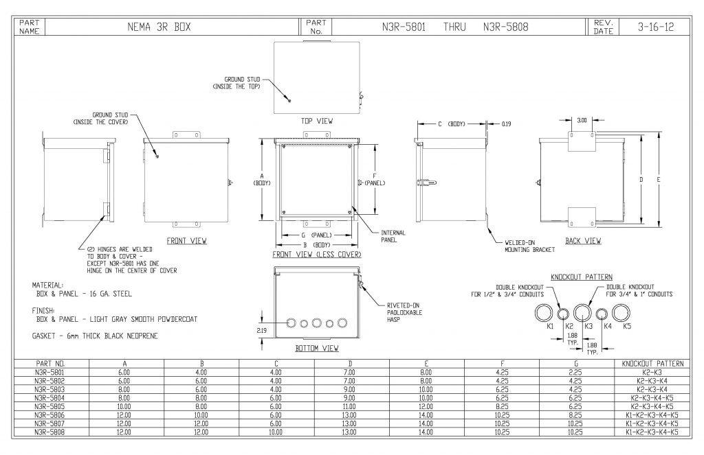 N3R-5803 Dimensions