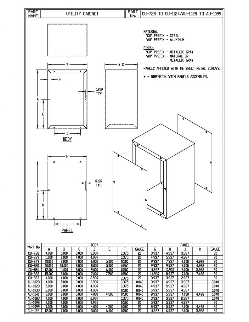 CU-729 Dimensions