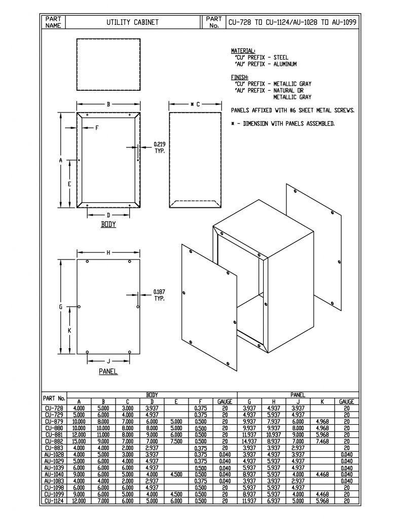 AU-1083 Dimensions