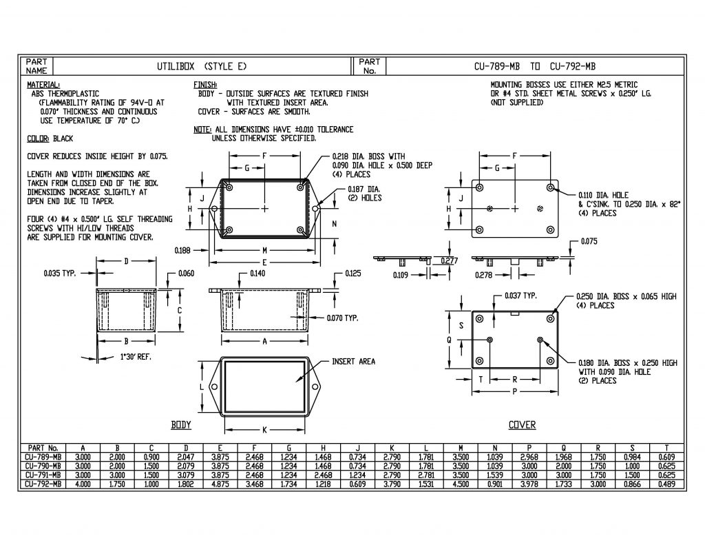 CU-792-MB Dimensions
