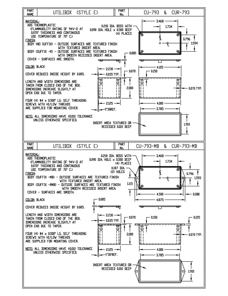 CU-794-MB Dimensions