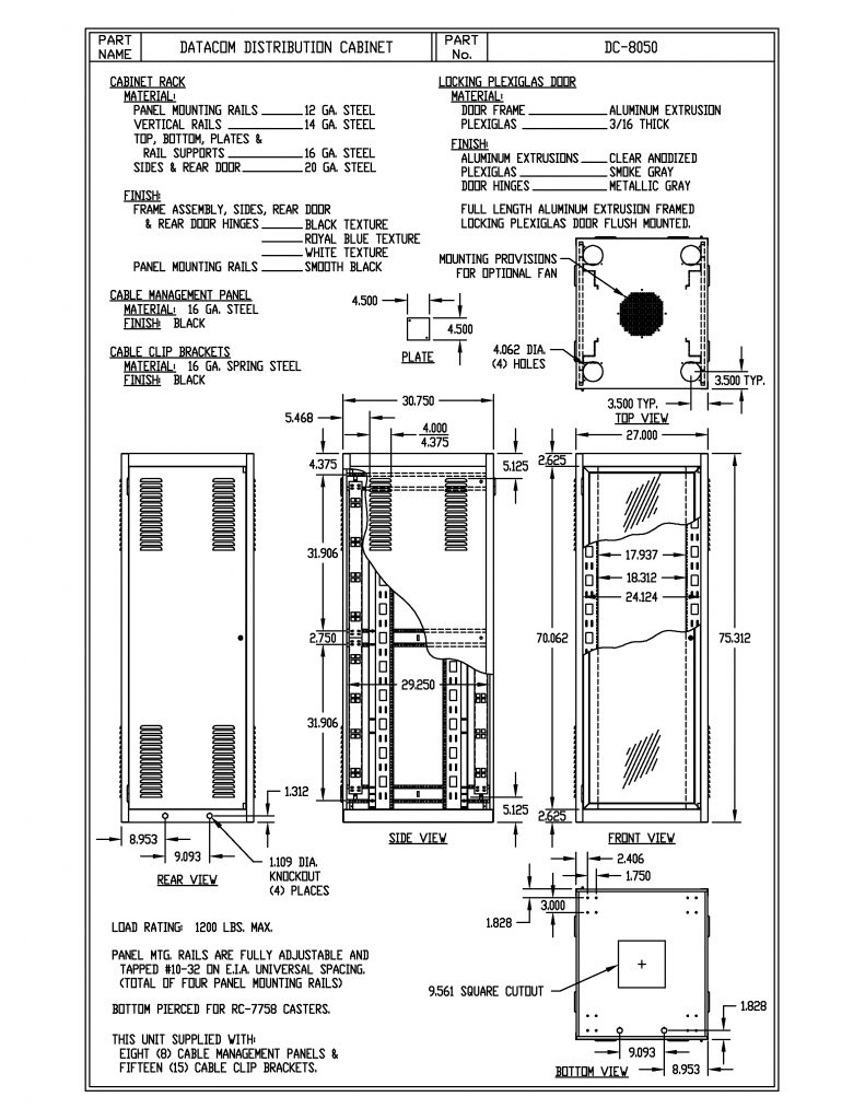 DC-8050-BT Dimensions