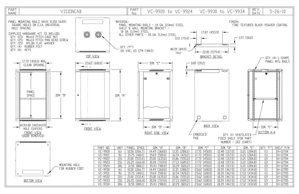 VC-9934-B Dimensions