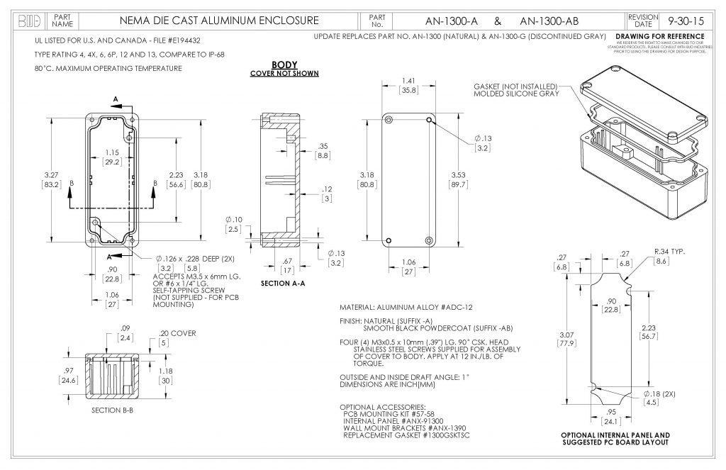 AN-1300-AB Dimensions