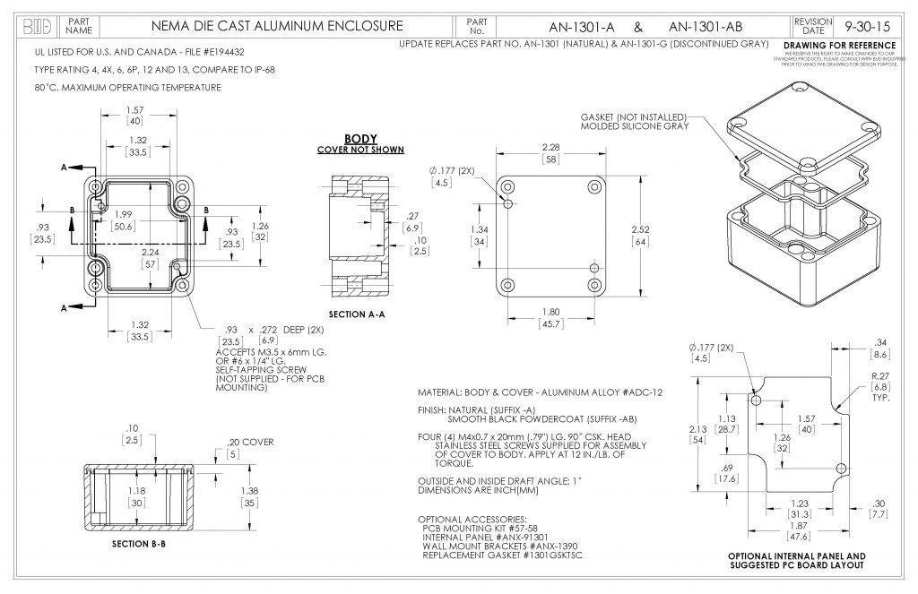 AN-1301-AB Dimensions