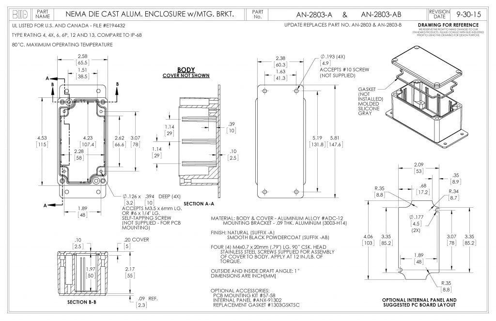 AN-2803-AB Dimensions