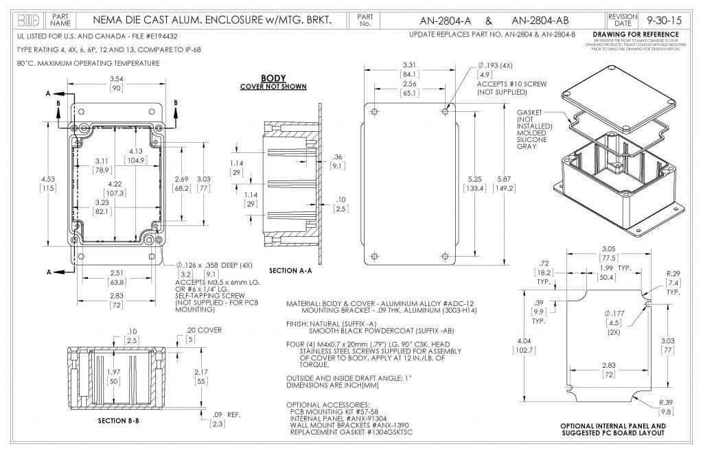 AN-2804-AB Dimensions