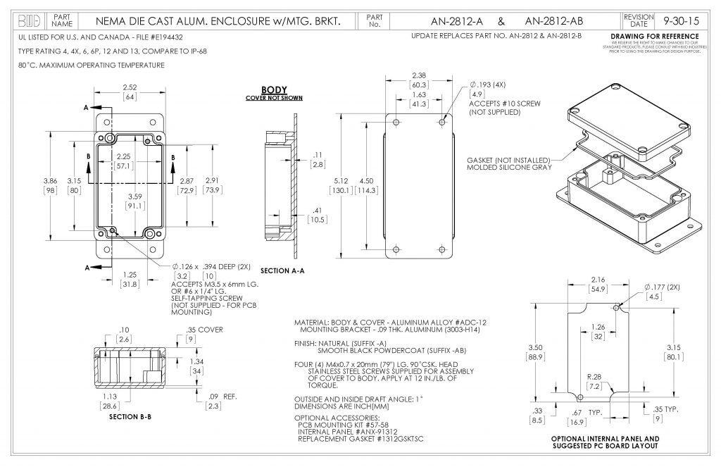 AN-2812-AB Dimensions