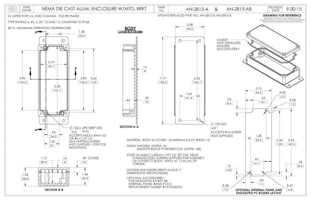 AN-2815-AB Dimensions