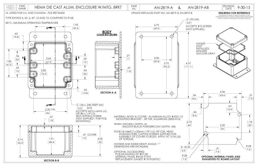 AN-2819-AB Dimensions
