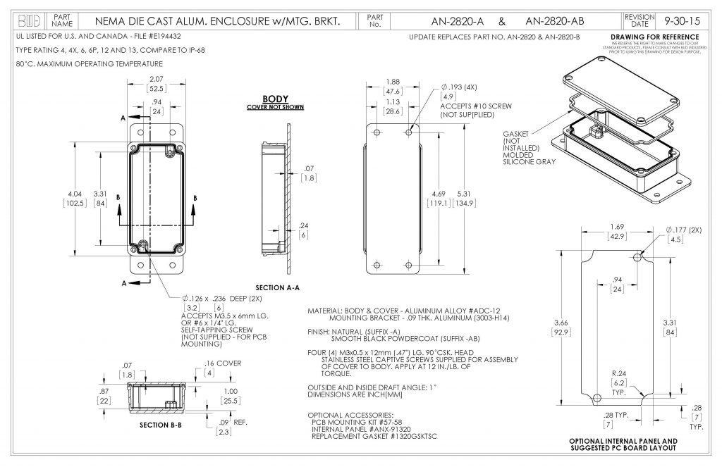 AN-2820-AB Dimensions