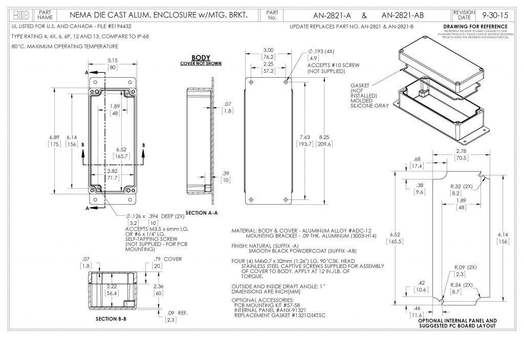 AN-2821-AB Dimensions