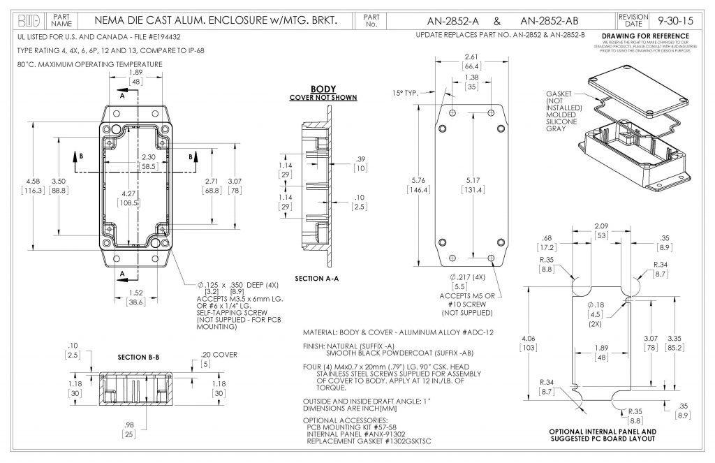 AN-2852-AB Dimensions