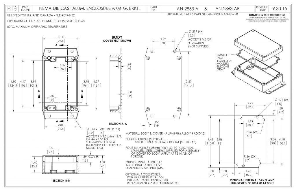 AN-2863-AB Dimensions