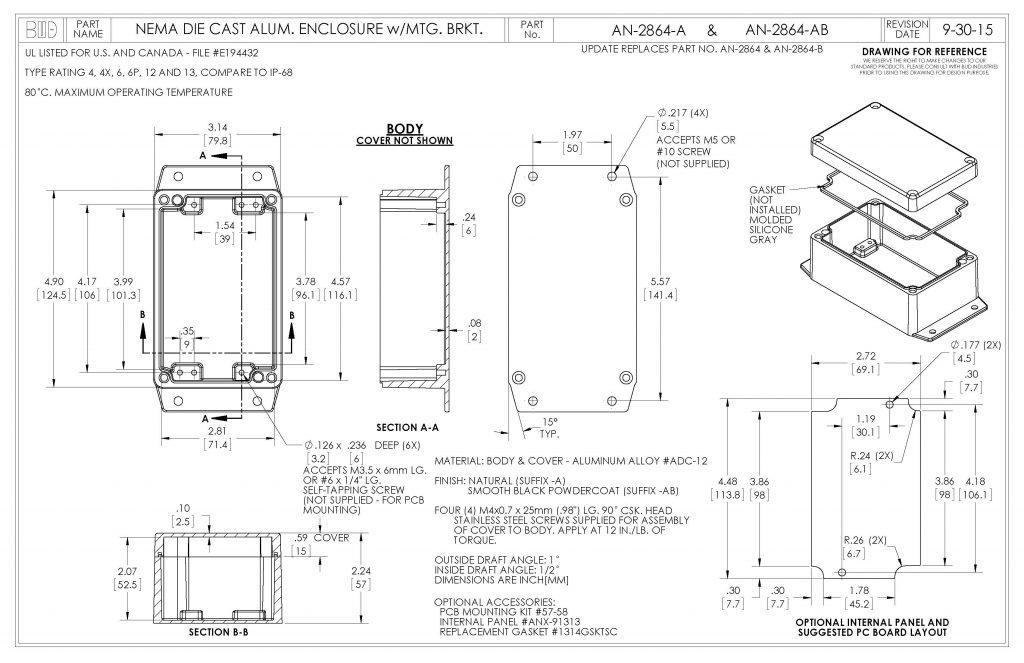 AN-2864-AB Dimensions