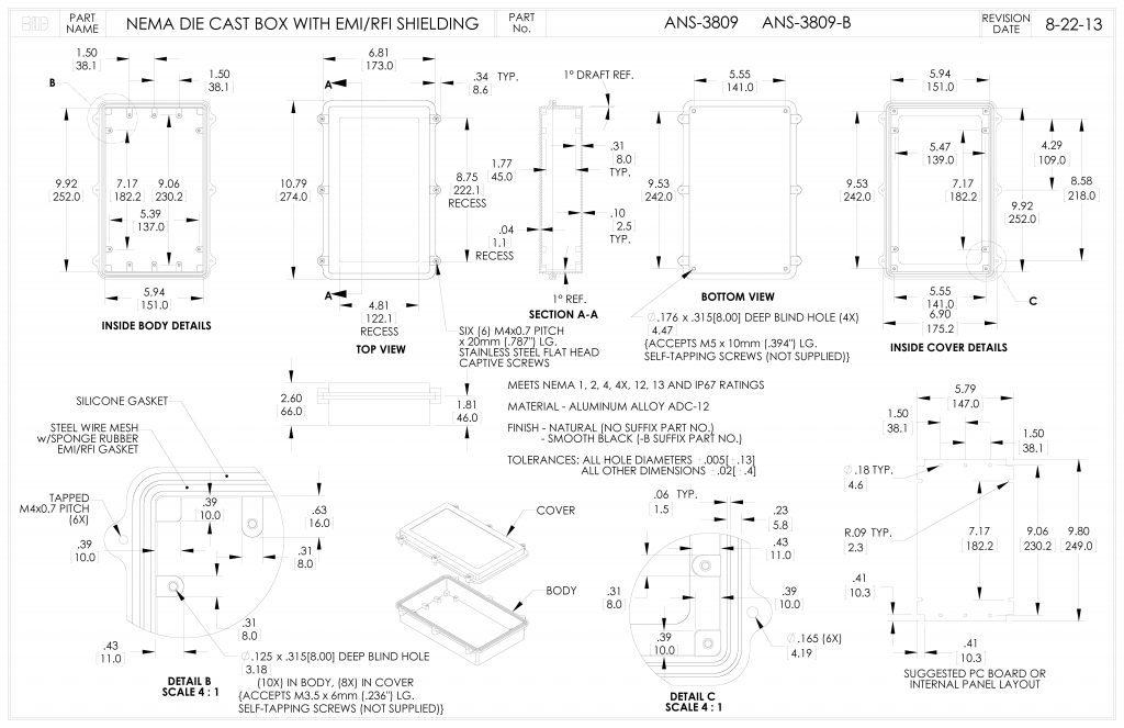 ANS-3809-B Dimensions