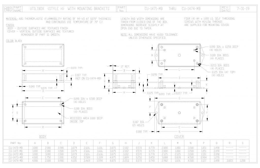 CU-1474-MB Dimensions