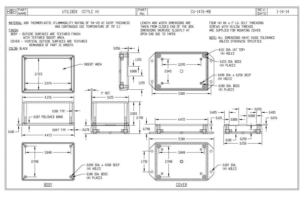 CU-1476-MB Dimensions