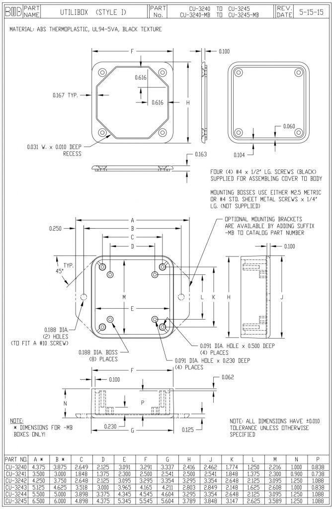 CU-3243-MB Dimensions