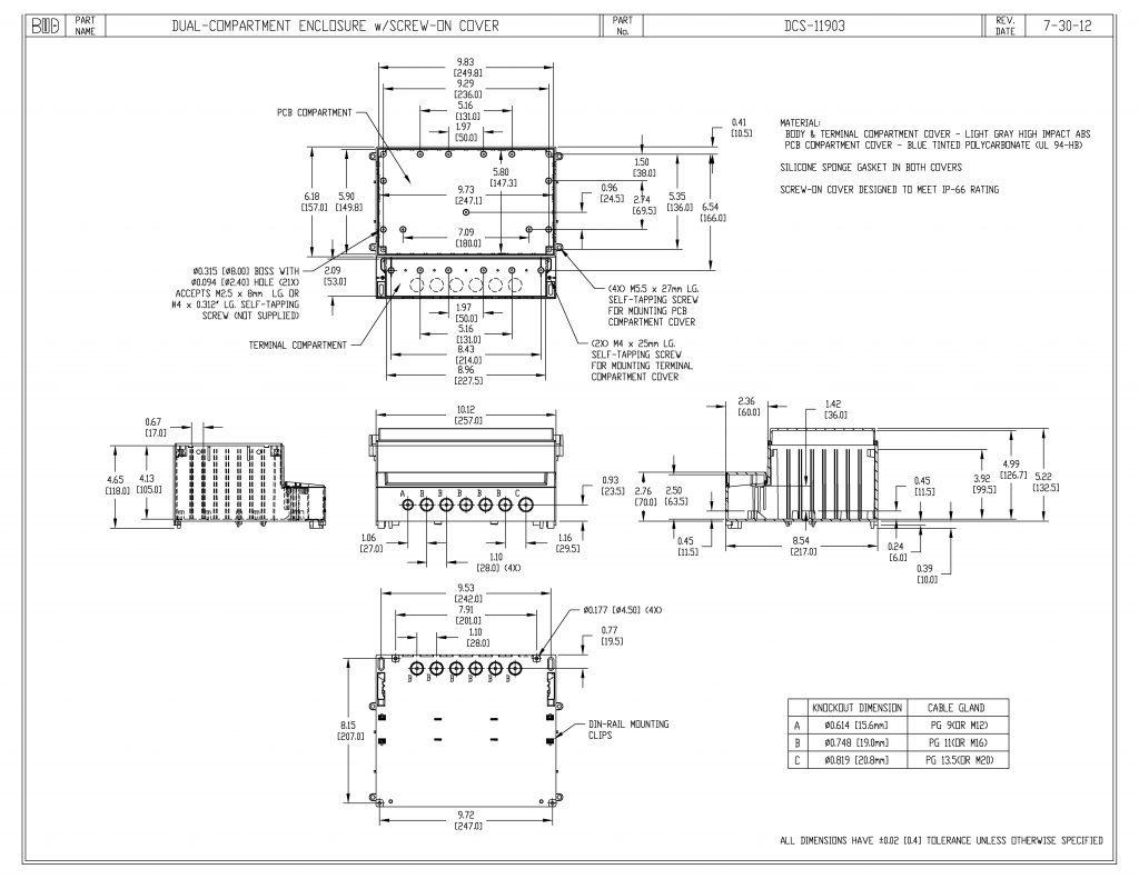 DCS-11903 Dimensions