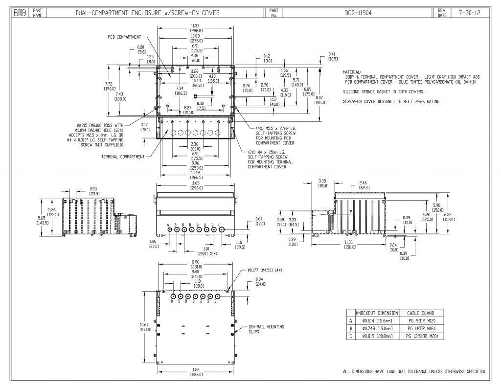 DCS-11904 Dimensions