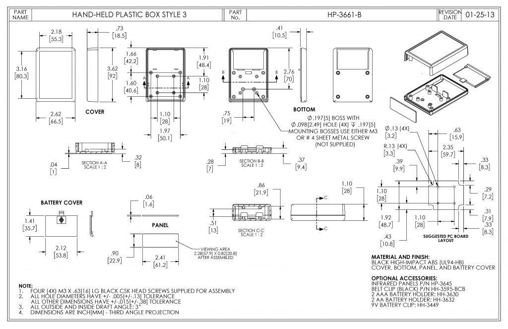 HP-3661-B Dimensions