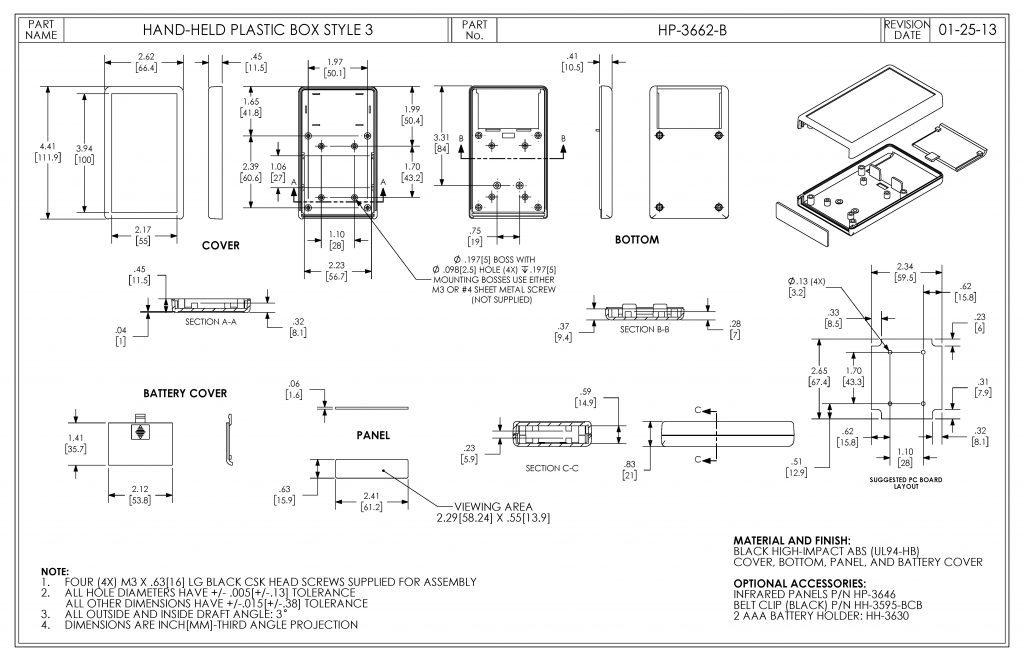 HP-3662-B Dimensions