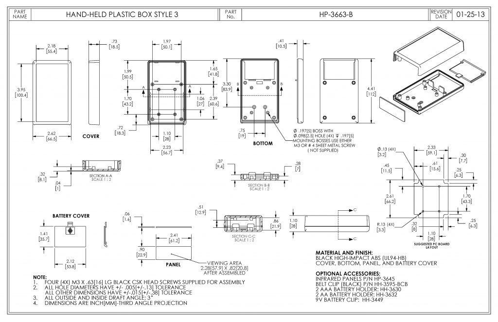 HP-3663-B Dimensions
