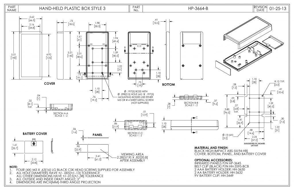 HP-3664-B Dimensions