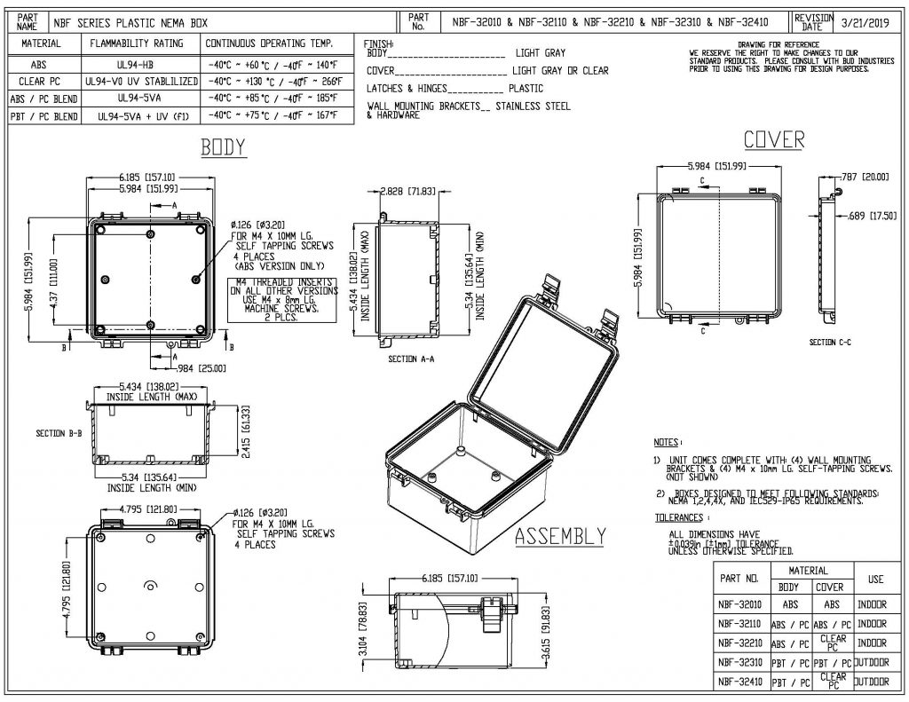 NBF-32010 Dimensions