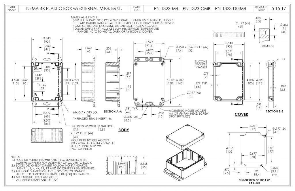 PN-1323-MB Dimensions