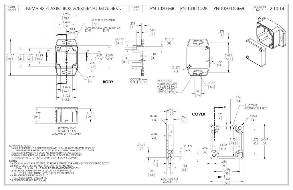 PN-1330-DGMB Dimensions