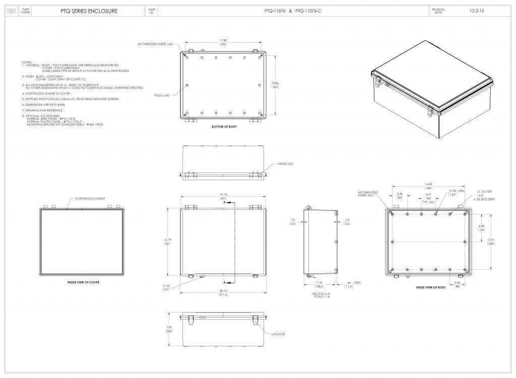 PTQ-11076-C Dimensions