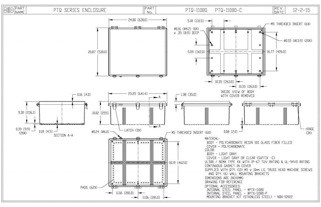 PTQ-11080 Dimensions