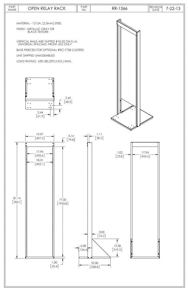 RR-1366-BT Dimensions