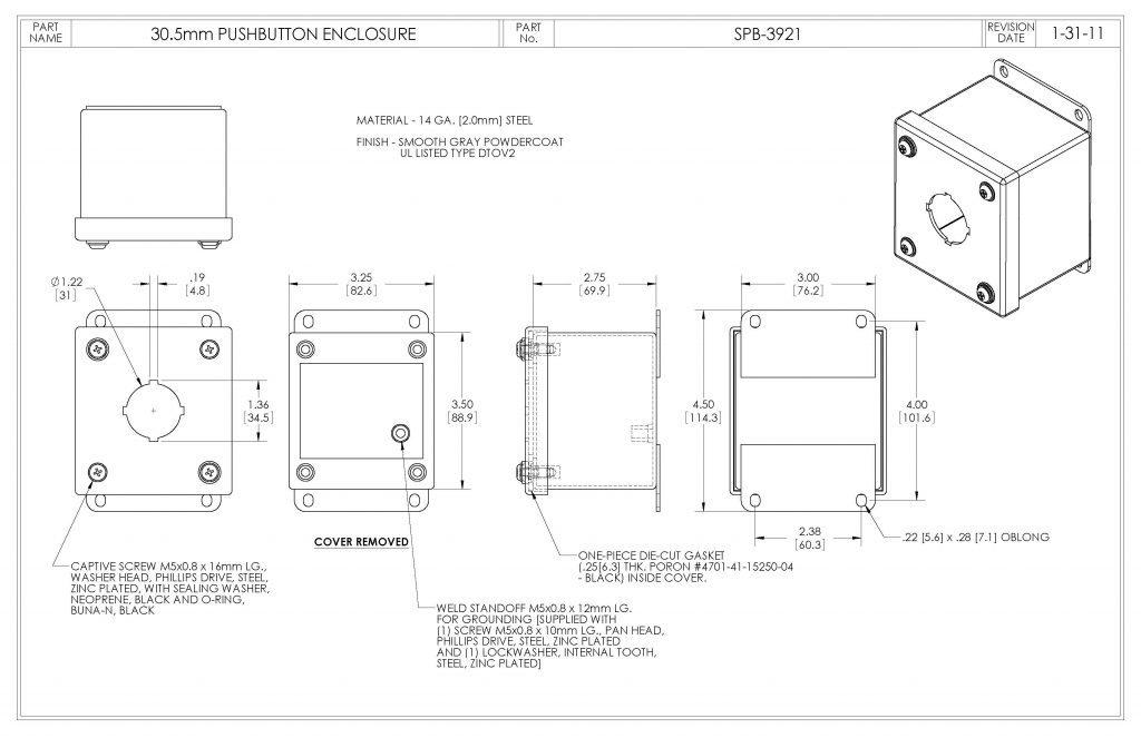 SPB-3921 Dimensions