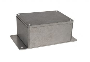 BUD Industries AN-2815-AB Black Powder Coated IP68 Aluminum 5.91x2.52x1.45 enclosure with welded on bracket Inc.