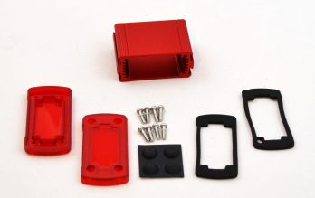 Extruded Aluminum Enclosure Red with Plastic Cover EXN-23350-RDP