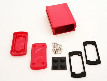 Extruded Aluminum Enclosure Red with Plastic Cover EXN-23351-RDP