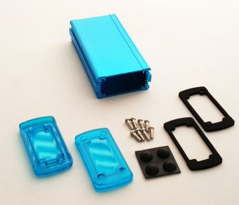 Extruded Aluminum Enclosure Blue with Plastic Cover EXN-23352-BLP