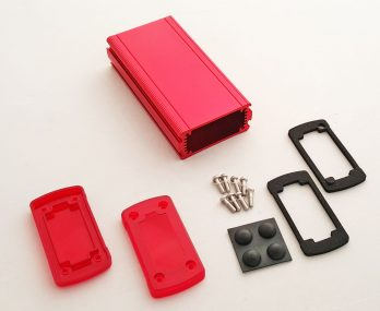 Extruded Aluminum Enclosure Red with Plastic Cover EXN-23352-RDP