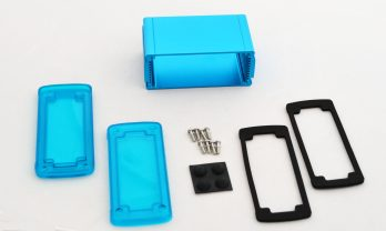 Extruded Aluminum Enclosure Blue with Plastic Cover EXN-23356-BLP