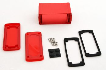Extruded Aluminum Enclosure Red with Plastic Cover EXN-23356-RDP