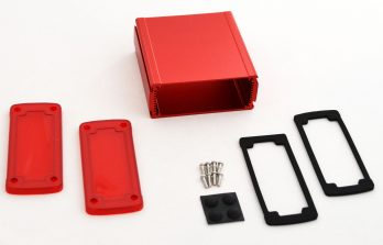 Extruded Aluminum Enclosure Red with Plastic Cover EXN-23357-RDP
