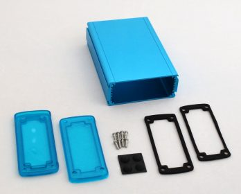 Extruded Aluminum Enclosure Blue with Plastic Cover EXN-23358-BLP