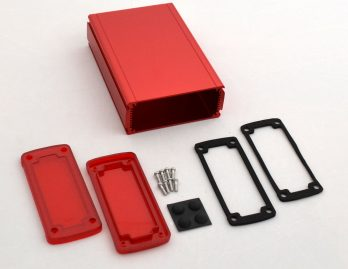 Extruded Aluminum Enclosure Red with Plastic Cover EXN-23358-RDP