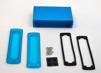 Extruded Aluminum Enclosure Blue with Plastic Cover EXN-23359-BLP